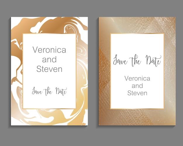 Set luxe ontwerp voor bruiloft uitnodiging kaartsjabloon Premium Vector