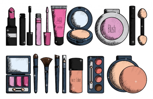 Set make-up accessoires tekenen Gratis Vector