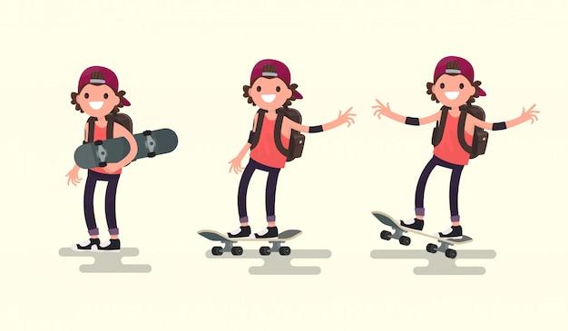 Set man rijden op een skateboard illustratie Premium Vector