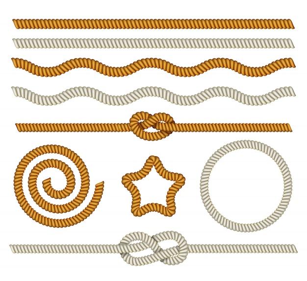 Set marine touwen, knopen, nautische rand en frame Premium Vector