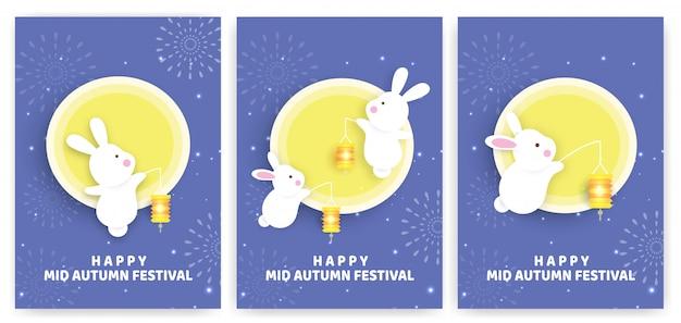 Set medio herfst festivalkaarten met schattige konijnen en de maan in papierstijl. Premium Vector