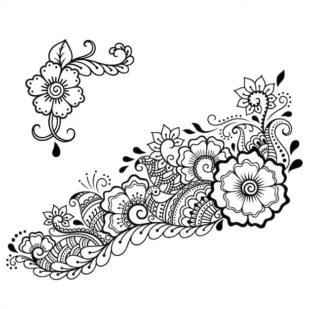 Set mehndi bloem- en lotuspatroon. decoratie in etnische oosterse, indiase stijl. doodle ornament. overzicht hand tekenen illustratie. Premium Vector