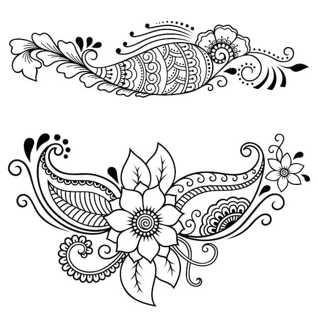 Set mehndi bloemenpatroon. decoratie in etnische oosterse stijl. doodle ornament. overzicht hand tekenen illustratie. Premium Vector