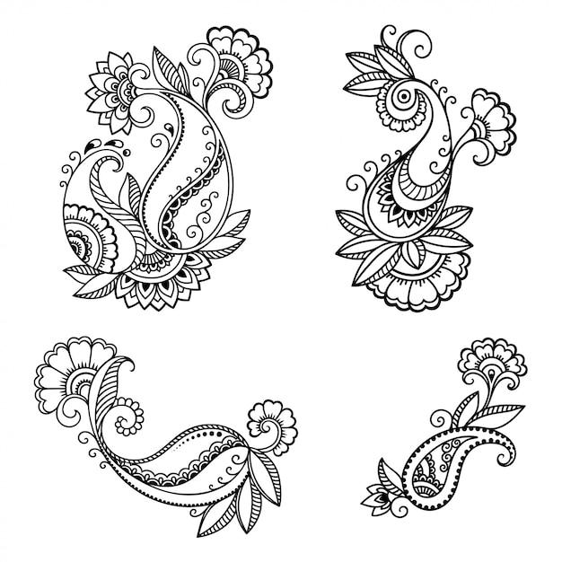 Set mehndi bloemenpatroon voor henna-tekening. decoratie in etnische oosterse, indiase stijl. doodle ornament. een overzicht van hand tekenen. Premium Vector