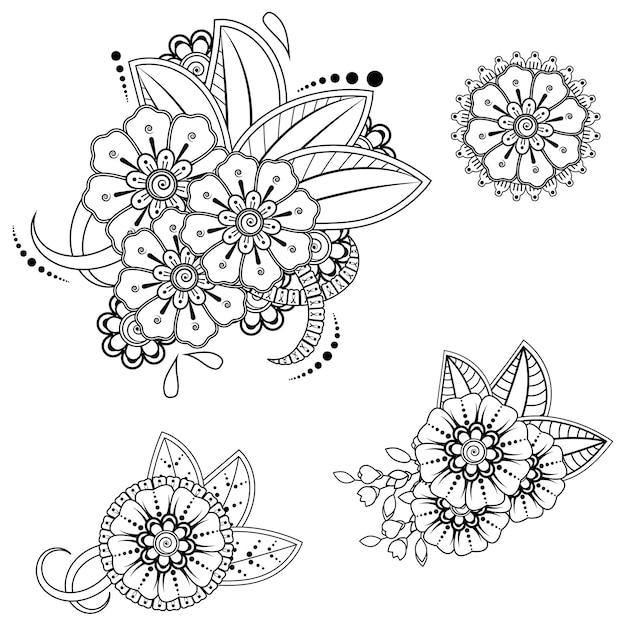 Set mehndi bloemenpatroon voor henna-tekening. decoratie in etnische oosterse indiase stijl. Premium Vector