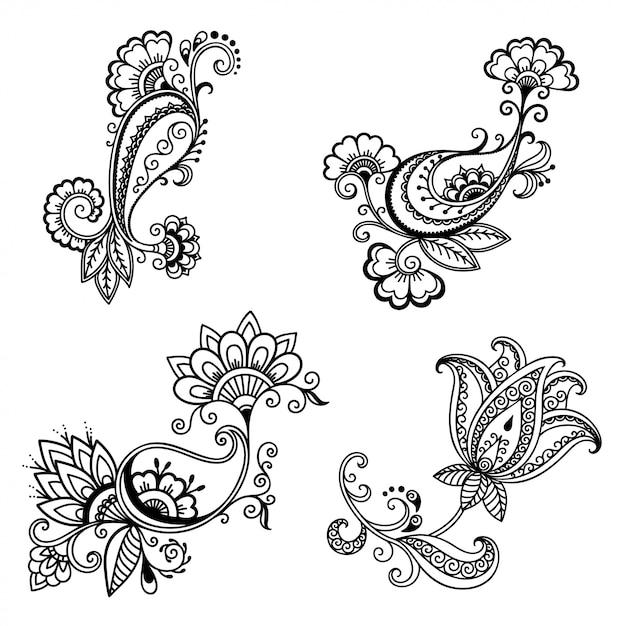 Set mehndi-bloemenpatroon voor henna-tekening en tatoeage. Premium Vector