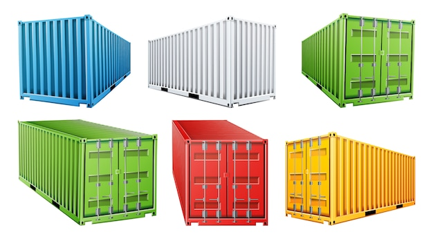 Set met 3d-verzendcontainer Premium Vector
