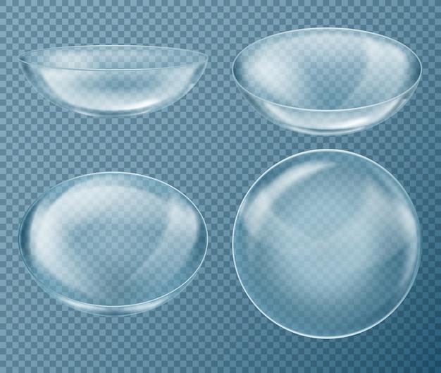 Set met blauwe contactlenzen voor oogzorg, geïsoleerd op transparante achtergrond. medische apparatuur Gratis Vector