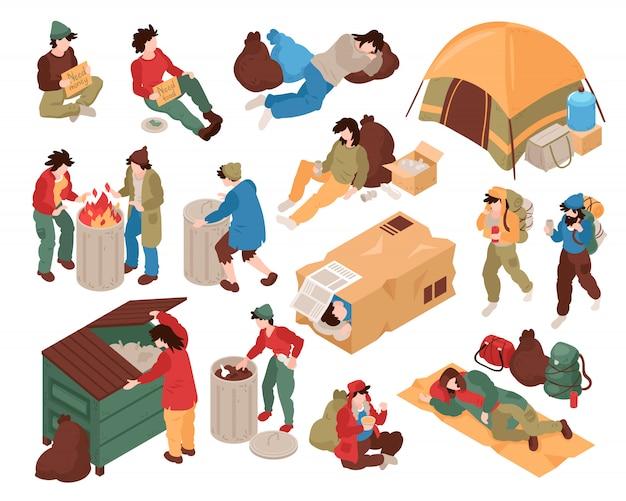 Set met geïsoleerde afbeeldingen van dakloze mensen, menselijke personages en verschillende gerelateerde objecten Gratis Vector