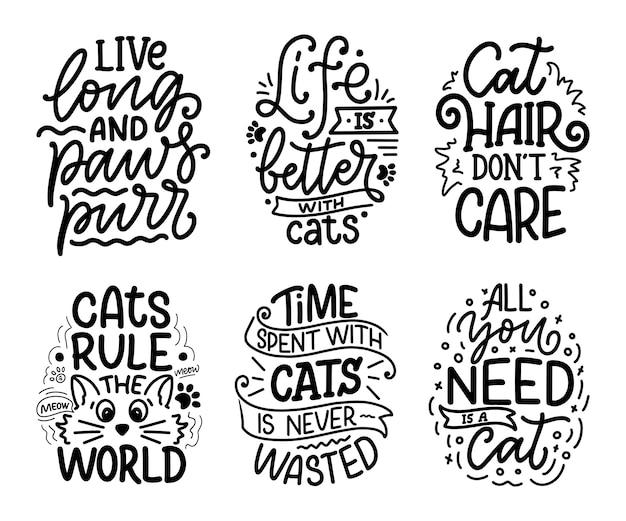 Set met grappige belettering citaten over katten in de hand getekende stijl Premium Vector