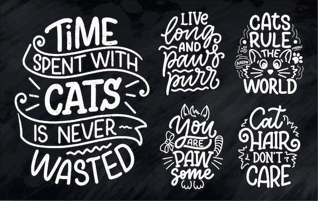 Set met grappige belettering citaten over katten om af te drukken in de hand getekende stijl Premium Vector