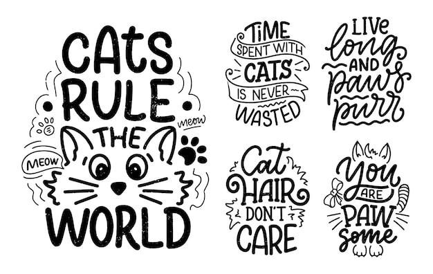 Set met grappige belettering citaten over katten om af te drukken in de hand getekende stijl. Premium Vector