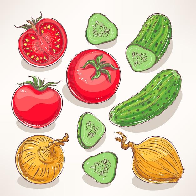 Set met handgetekende groenten. tomaten, komkommers, uien Premium Vector