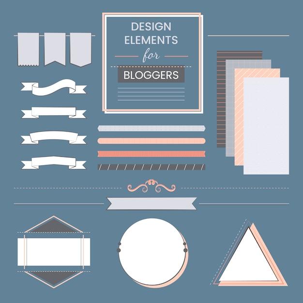 Set met ontwerpelementen voor bloggers vector Gratis Vector
