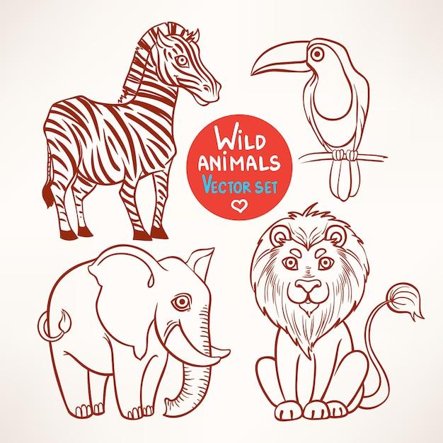 Set met schets van vier schattige wilde jungle dieren Premium Vector