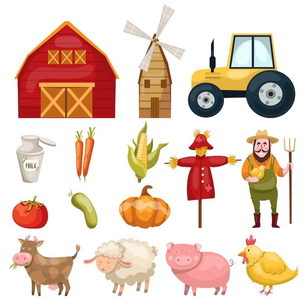 Set met tal van kleurrijke geïsoleerde boerderij symbolen gebouwen dieren karakters natuurlijke voeding en biologische groenten Gratis Vector