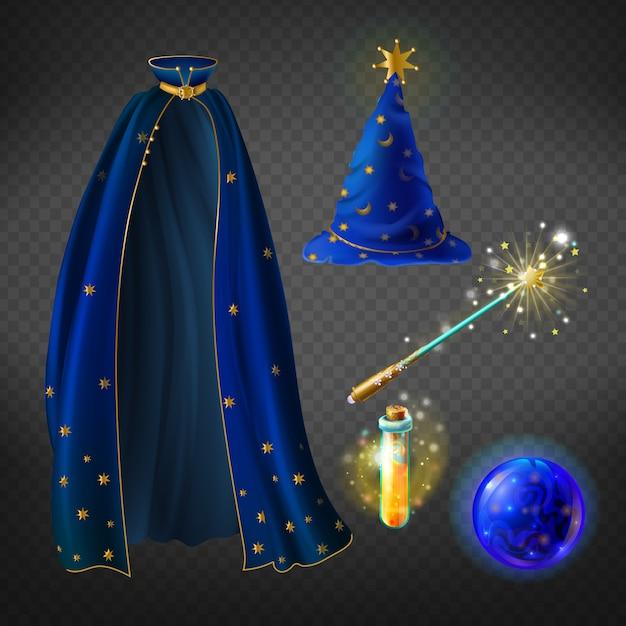 Set met tovenaarskostuum voor halloween-feest en magische accessoires Gratis Vector