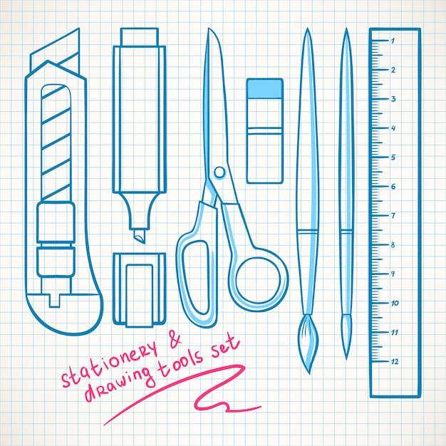 Set met verschillende schrijfwaren. briefpapier mes, schaar, marker Premium Vector