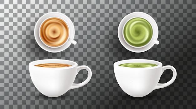 Set met verschillende soorten koffiedranken op transparante achtergrond Premium Vector