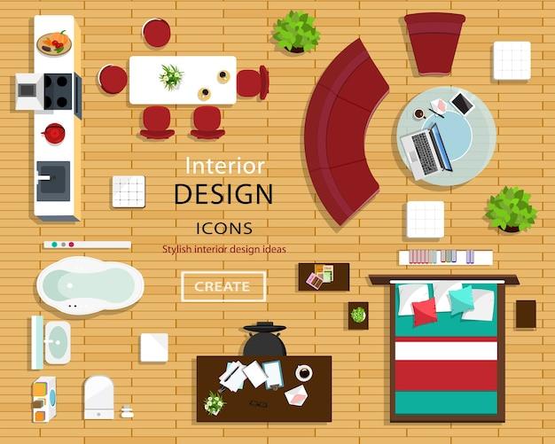 Set meubelpictogrammen voor kamerinterieurs. bovenaanzicht van interieur iconen: bank, stoelen, tafel, bed, nachtkastjes, fauteuils, bloempotten, keuken en badkamer. illustratie. Premium Vector