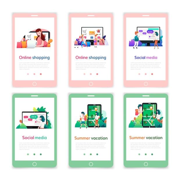 Set mobiele pagina-ontwerpsjablonen voor online winkelen, digitale marketing, sociale media, zomervakantie. moderne vector illustratie concepten voor mobiele website ontwikkeling. Premium Vector