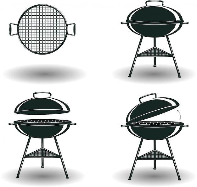 Set monochrome bbq-grillborden Premium Vector