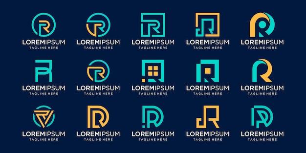 Set monogram eerste letter r rr logo sjabloon. pictogrammen voor zaken van mode, zaken, consulting, digitale technologie. Premium Vector