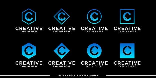 Set monogram pictogram eerste c logo ontwerpsjabloon Premium Vector
