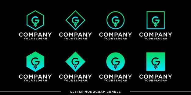 Set monogram pictogram eerste g logo ontwerpsjabloon Premium Vector