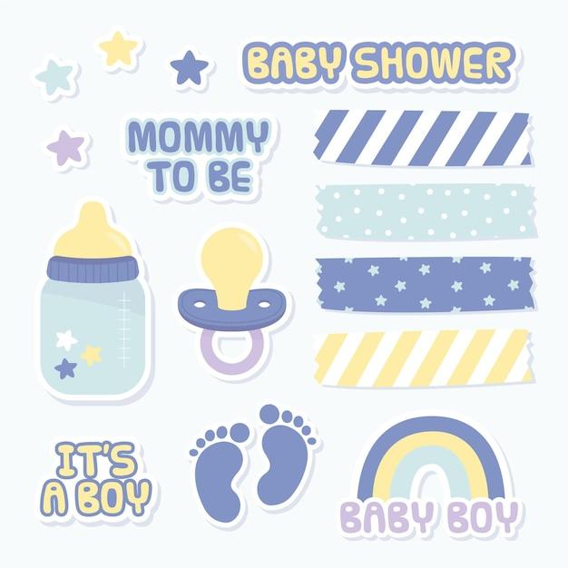 Set mooie plakboekelementen voor babydouche Gratis Vector