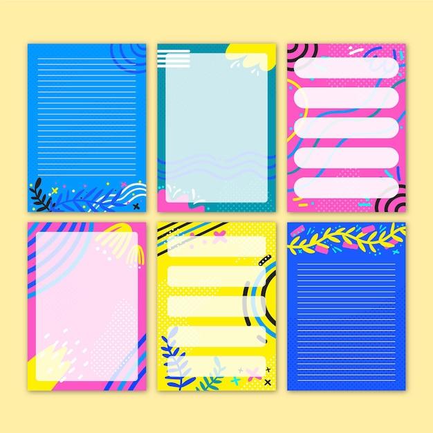 Set mooie plakboeknotities en kaarten Gratis Vector
