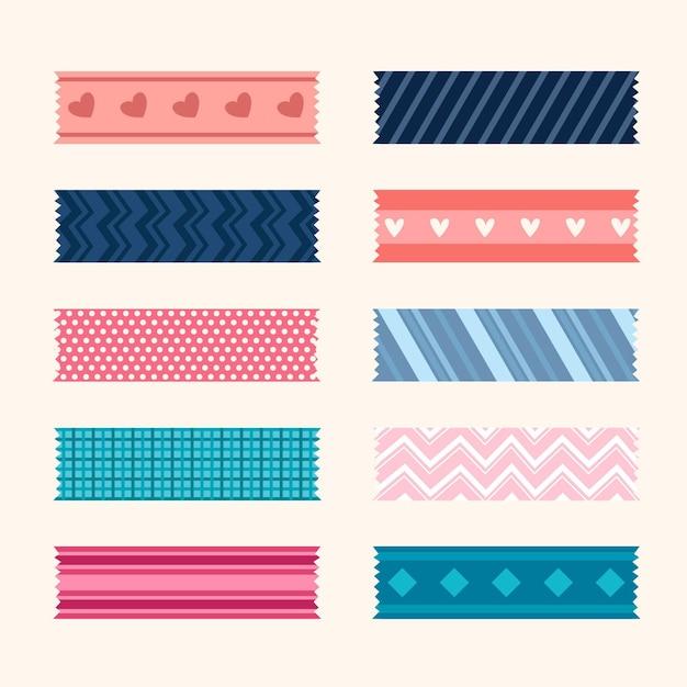 Set mooie washi-tapes Premium Vector