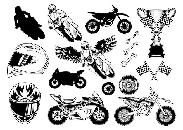 Set motorfiets elementen Gratis Vector