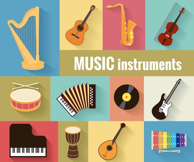 Set muziekinstrumenten harp, gitaar, saxofoon, viool, trommel, accordeon, piano en banjo. geïsoleerd op een aparte achtergrond. Gratis Vector
