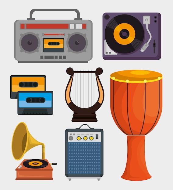 Set muziekinstrumenten pictogrammen Premium Vector