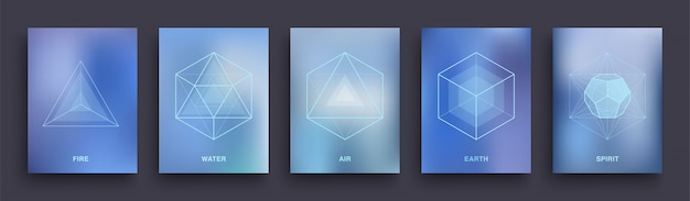 Set mystieke esoterische posters. heilige geometrie omvat sjabloonontwerp. vijf minimale ideale platonische lichamen. Premium Vector