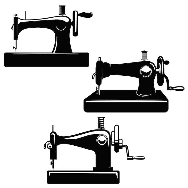 Set naaimachine illustraties. element voor poster, kaart, logo, embleem, teken. beeld Premium Vector