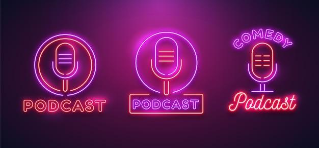 Set neon podcast-logo's Premium Vector