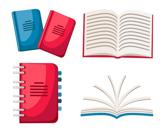 Set notebooks. spiraalvormig en normaal notitieboekje. office pictogram. gesloten en geopende notitieboekjes. illustratie op witte achtergrond Premium Vector