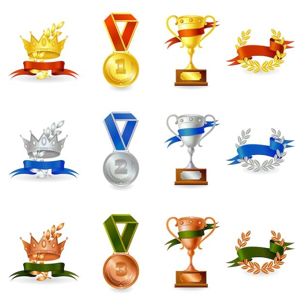 Set onderscheidingen en medailles Gratis Vector