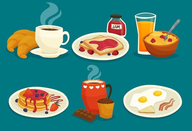 Set ontbijt cartoon pictogrammen Gratis Vector