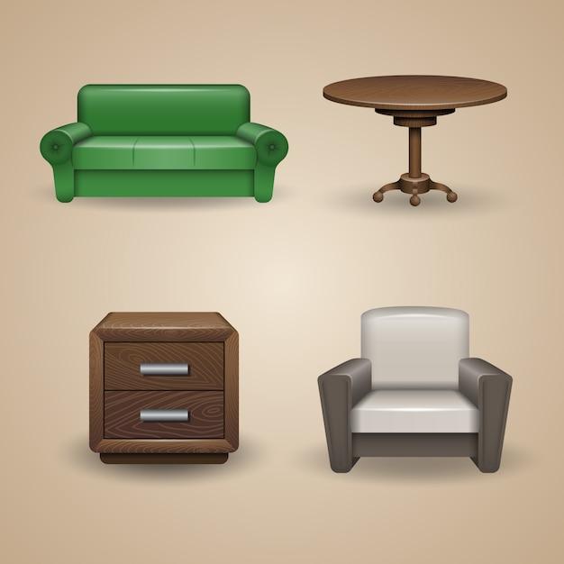 Set ontworpen meubelelementen, pictogrammen Premium Vector