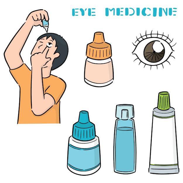 Set ooggeneeskunde Premium Vector