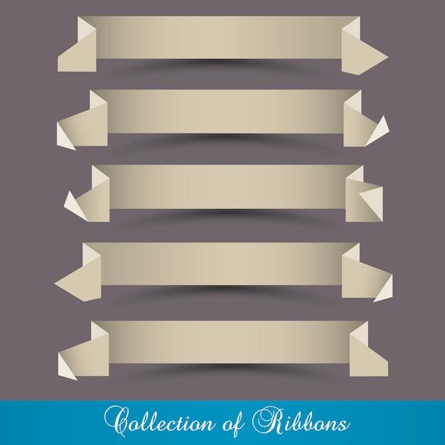 Set origami papier linten-banners Premium Vector