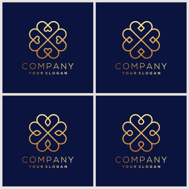 Set ornament logo ontwerpsjablonen in trendy lineaire stijl met bloemen en bladeren - borden gemaakt met gouden folie Premium Vector