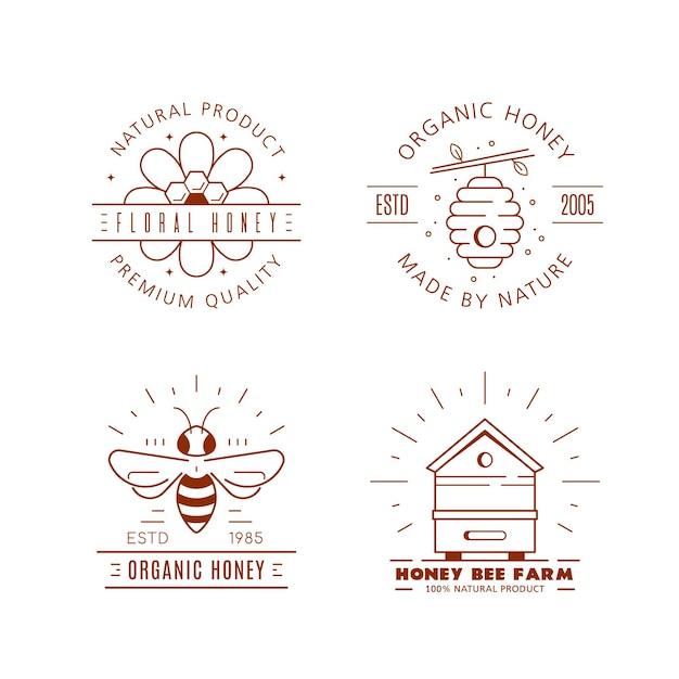 Set overzichtsjablonen logo ontwerp. biologische en eco-honingetiketten die op wit worden geïsoleerd. honingproductiebedrijf, honingpakket. Premium Vector