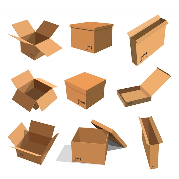 Set papieren gele dozen voor het verpakken van goederen Premium Vector