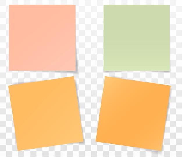 Set papieren stickers voor notities Premium Vector