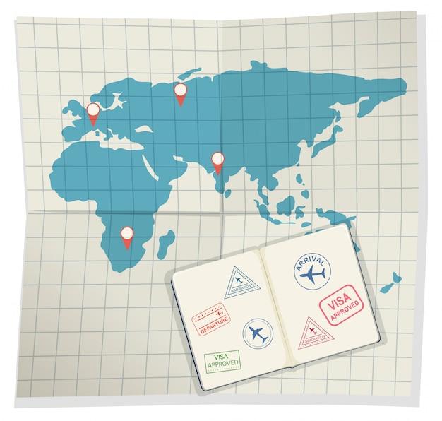 Set paspoorten en instapkaart Premium Vector