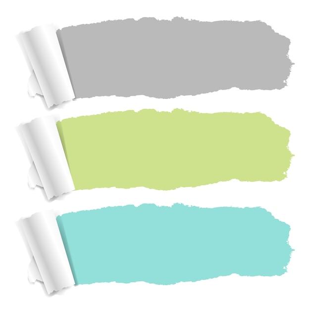 Set pastelkleur gescheurd papier Premium Vector